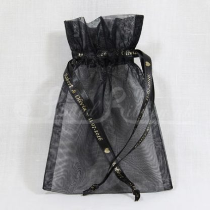 Black organza bag with wedding ribbon