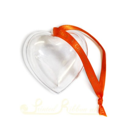 Small Transparent Heart Bauble with personalised ribbon