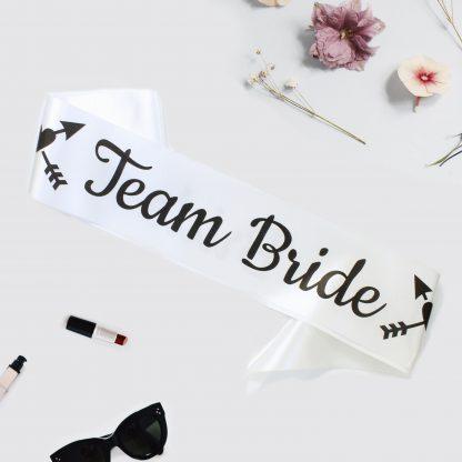 White team bride sash with black print